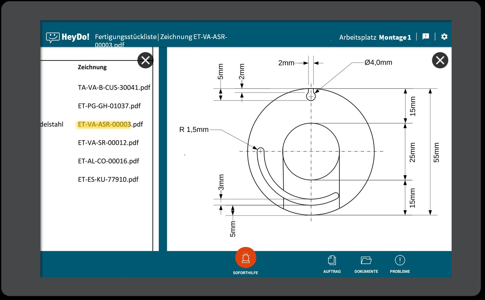 Tablet Dokumentendetails