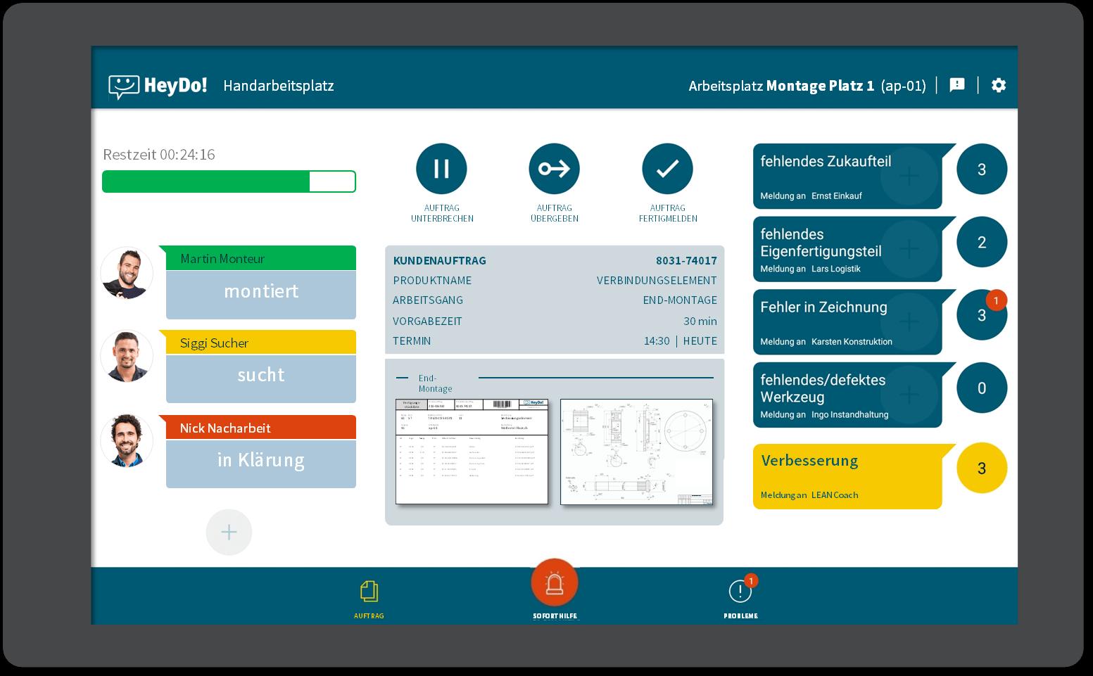 Auftragstatus Tablet